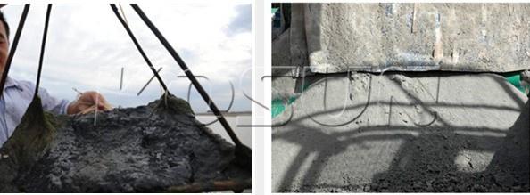 未经处理的钻屑和处理后的干燥钻屑